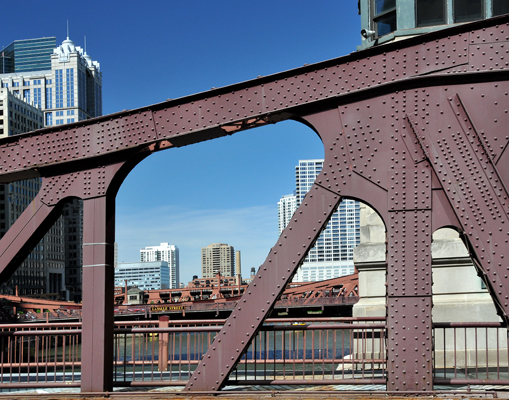View through one of the bolted steel structures of the river bridges