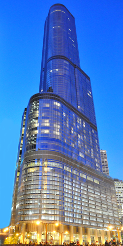 Trump International Hotel and Tower -- 92-story structure, reaching 1389 ft. including its spire.