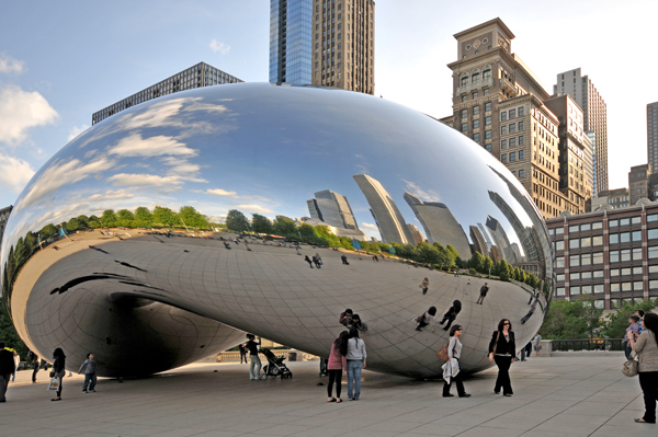 Anish Kapoors monumental Cloud Gate -- an assemblage of polished stainless steel plates inspired by liquid mercury!