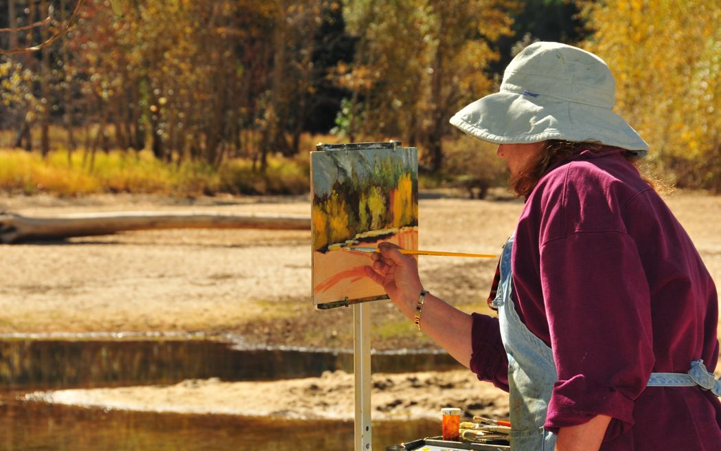 Artist Painting Along the Merced River