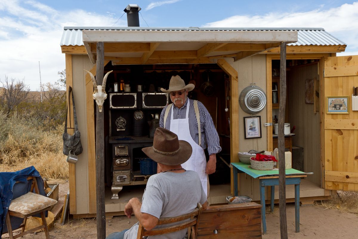 Dave Harkness and Bill, living history cooking demonstration, Ft Selden State Monument