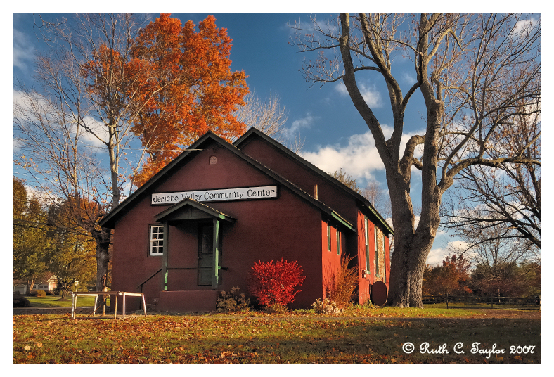 Autumn Morning <br> at the Little Red Schoolhouse<br>Jericho Valley