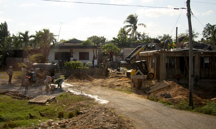 A few houses were being built