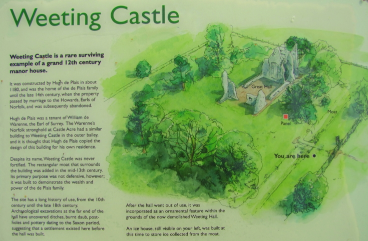 Weeting Castle display board