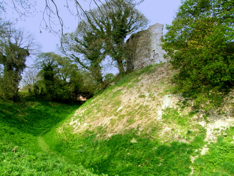 Castle Acre,the motte with walling on top.