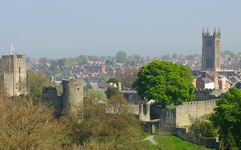 Ludlow Castle,with the town behind