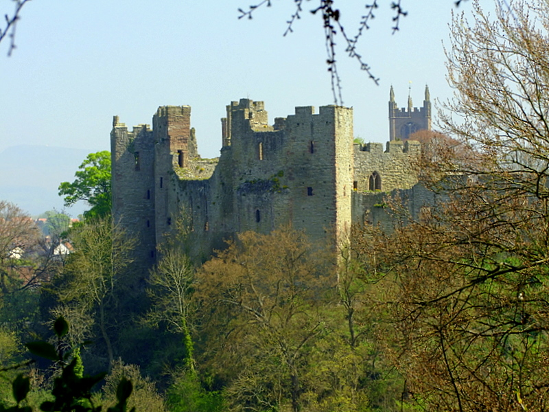 Ludlow Castle on the cliffs above the River Teme
