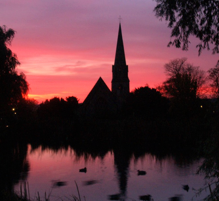 St. Pauls  church  at  dusk