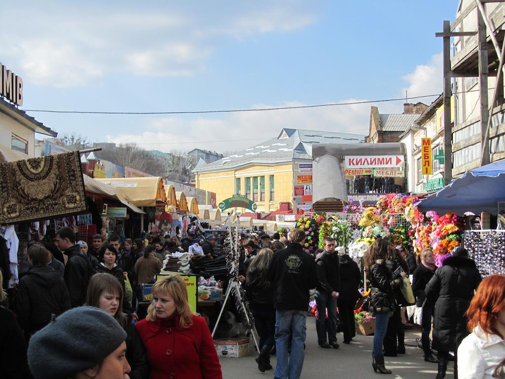 passing a dense outdoor market
