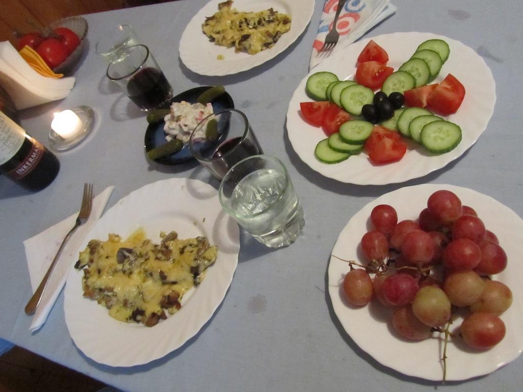 mushroom omelette, herring with cream & pickles, sliced vegetable salad, globe grapes