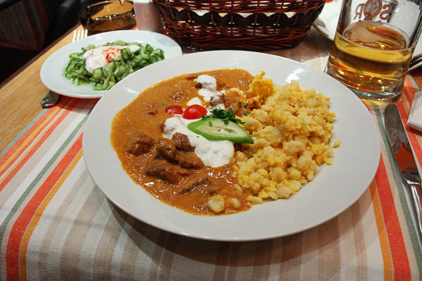 Borjúpaprikás tojásos galuskával: Hungarian veal stew served with home made noodles.