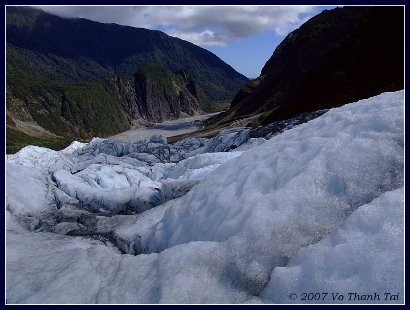 Looking down from Fox Glacier