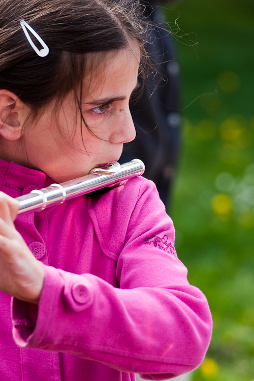 seriously looking flutist