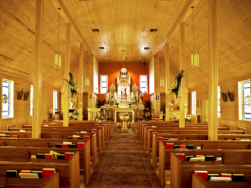 Natural wood interior of St. Josephs