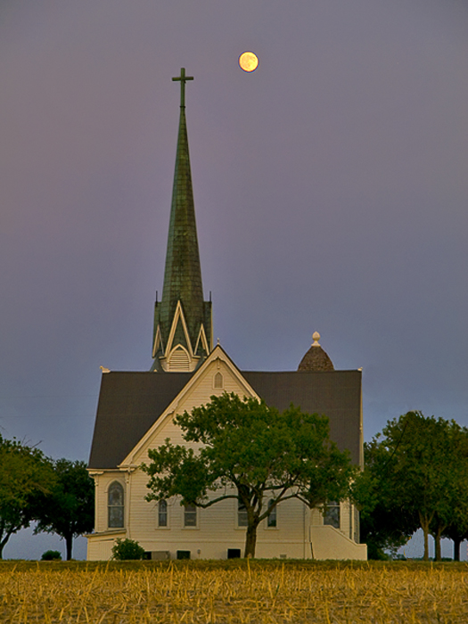 New Sweden, Texas with moon