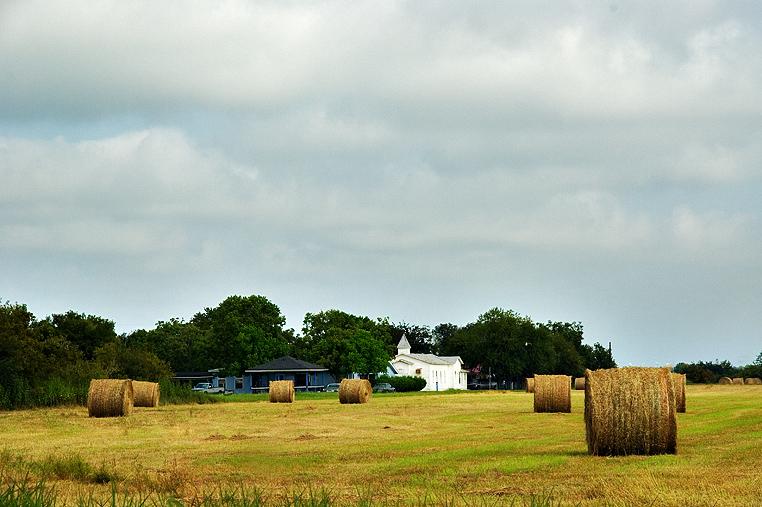 Church in round bales, Lockhart, TX
