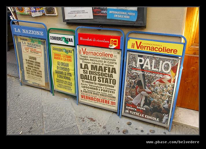 Palio Headlines, Siena, Tuscany, Italy