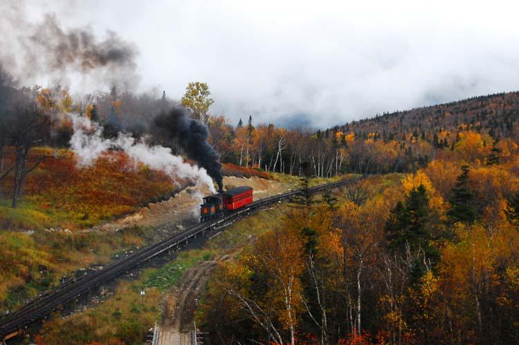 Cog Railway Steams Back Down Mount Washington