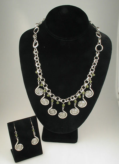 My Personal Favorite - Cleopatra, Green Vintage Glass Beads Necklace Set