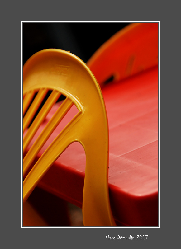 Plastic chairs and table