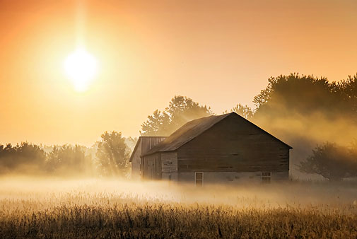 Barn In Misty Sunrise 20120611