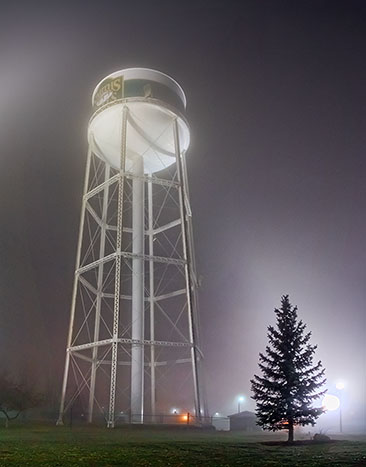 Foggy Night Water Tower 30996-31001