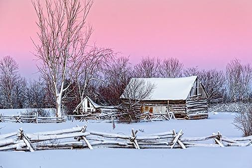 Wintry Old Log Barn 20121228