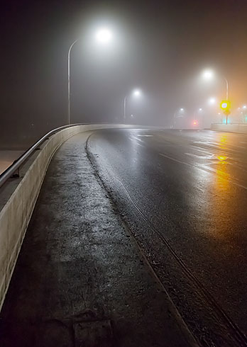 Beckwith Street Bridge On A Foggy Night 20130113