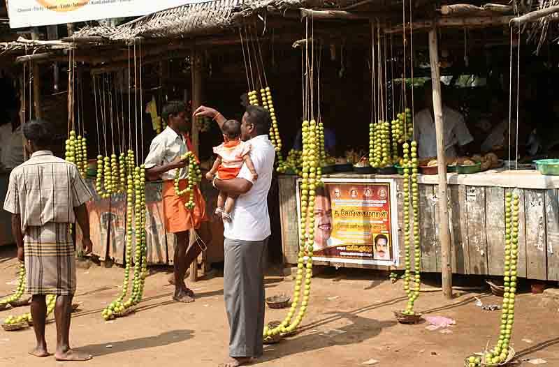 Devotees buy lemons for the god to appease the deity. http://www.blurb.com/books/3782738