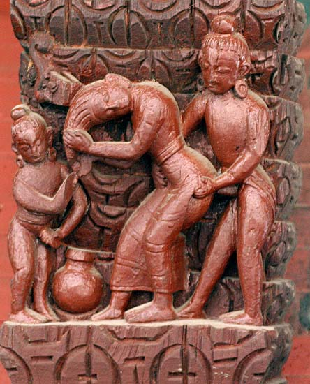 Erotic art at Pashupatinath temple, Nepal.