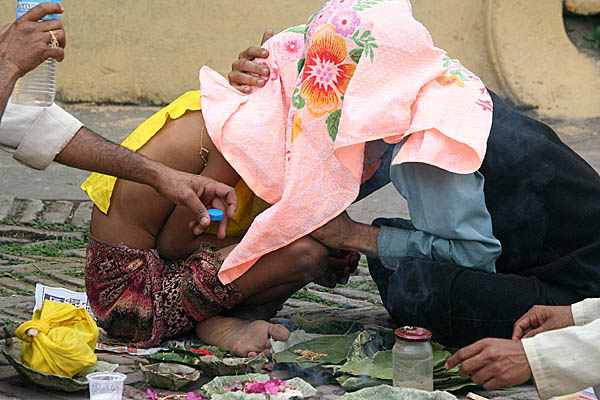 A religious ceremony at Pashupatinath, Nepal.
