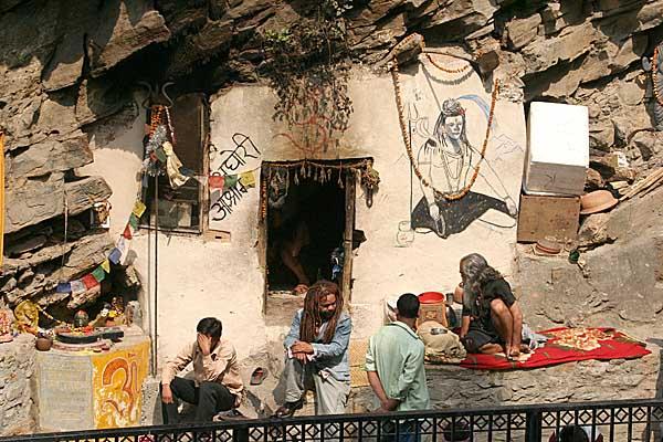 Saddhus living in a cave at Pashupatinath, Nepal.