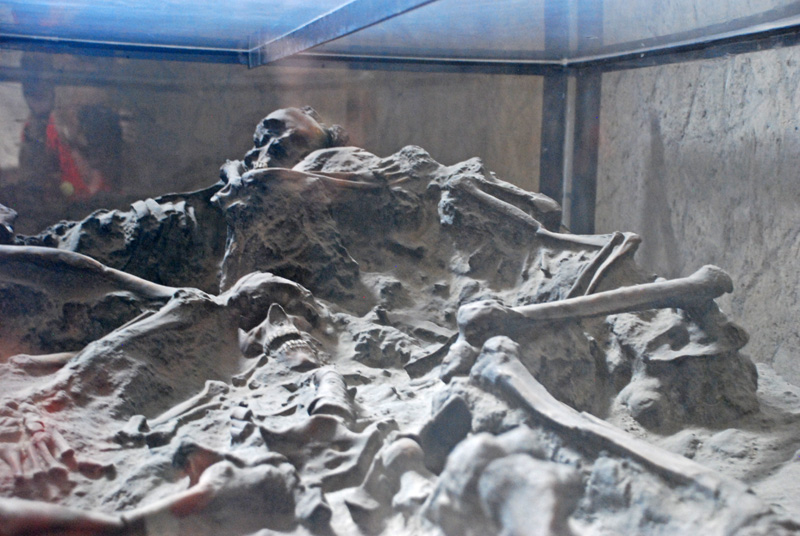 Skeletons found in the ruins preserved forever