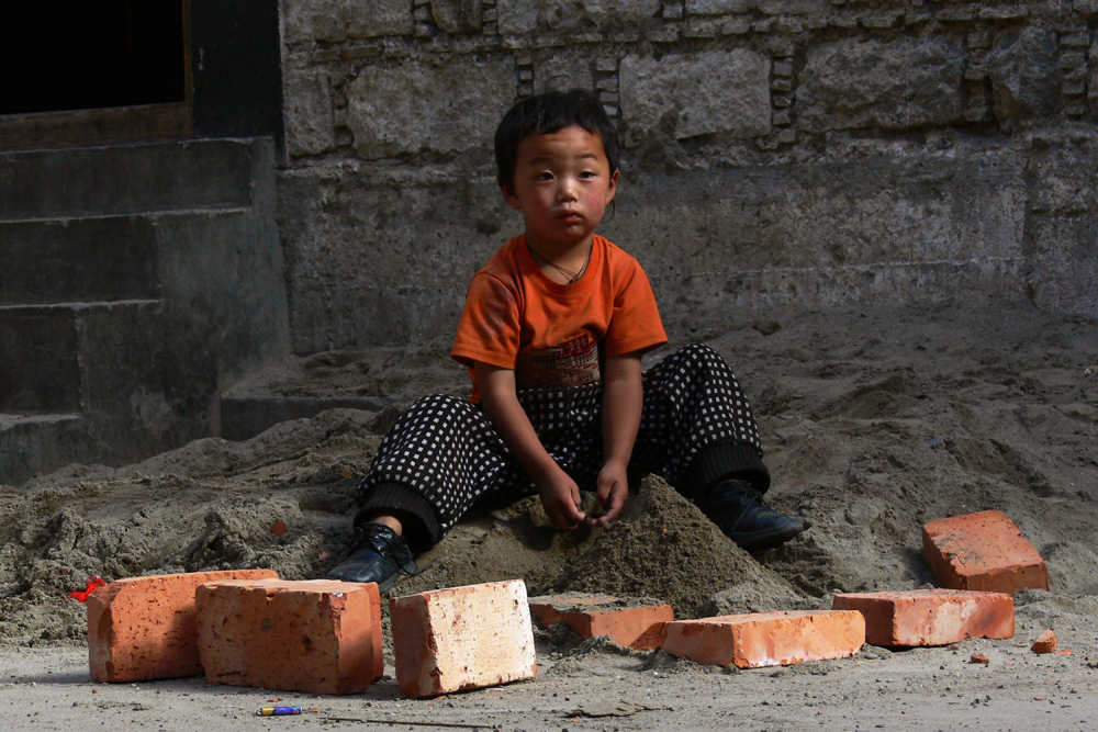 Orange brick kid