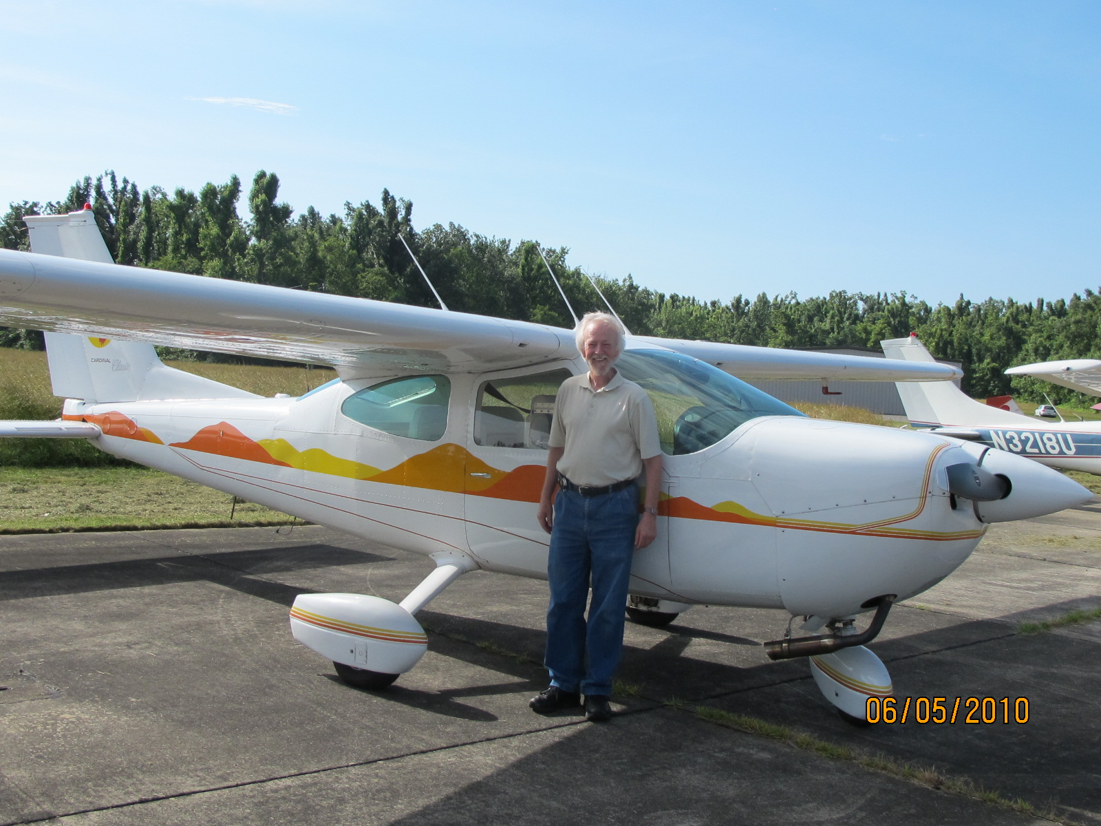 Larry Sanders with his Cessna Cardinal