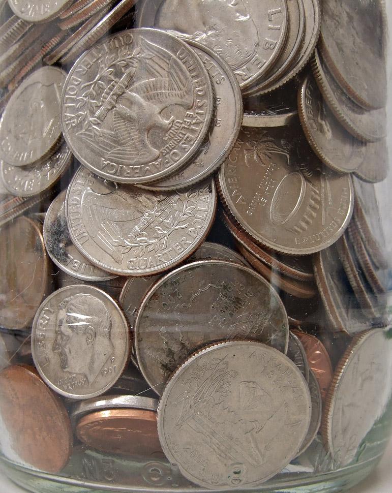 DSCF7488 Coins in a jar - macro handheld