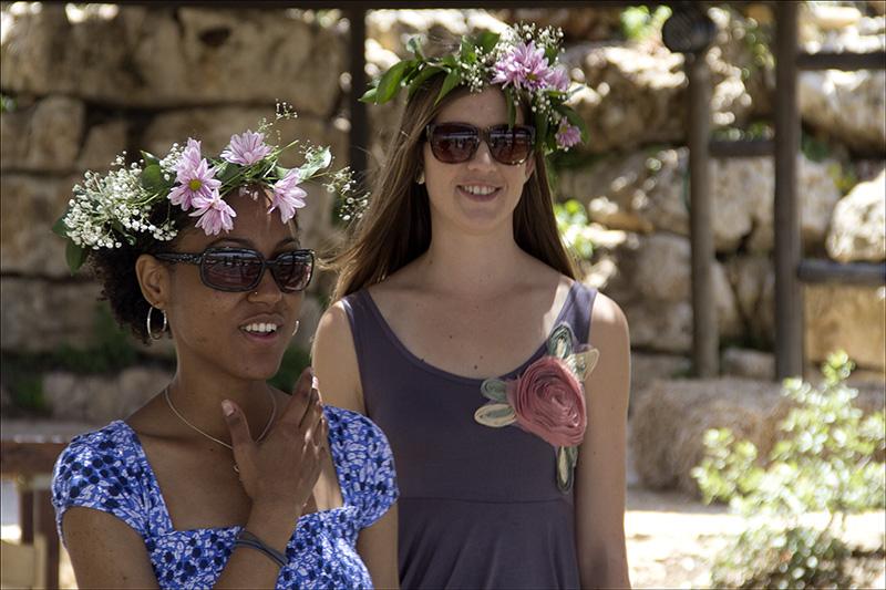 Girls celebrating Shavuot at Yad Hashmona.jpg