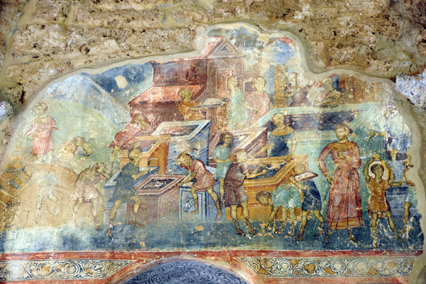Bible story of the Rich Man and his Stores - outer narthex fresco