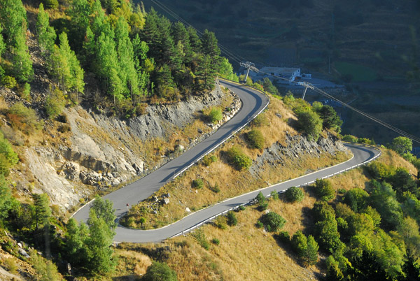 Hairpin curve on the road to Comallempla above Arinsal, Andorra