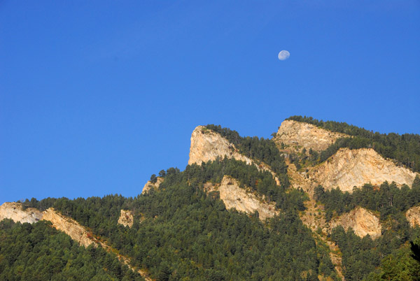 Andorra Pyrenees with near-full moon, near Xixerella