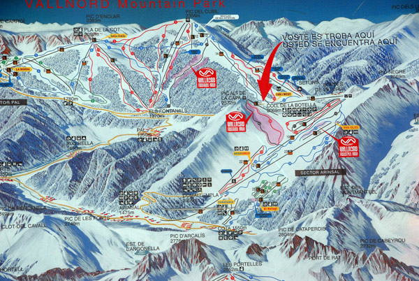 Map of the Vallnord ski district, Andorra