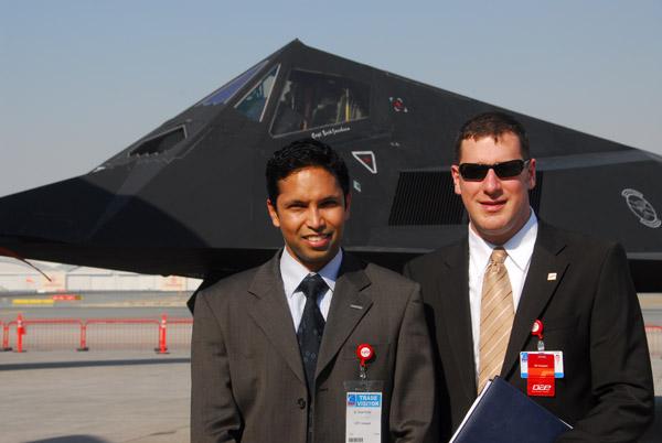 Omar Rhiman and Bill Hampton, right, of DAE University with the F-117, Dubai Airshow 2007