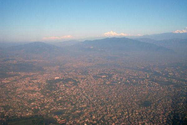 Rising above the smog layer of Kathmandu, Nepal