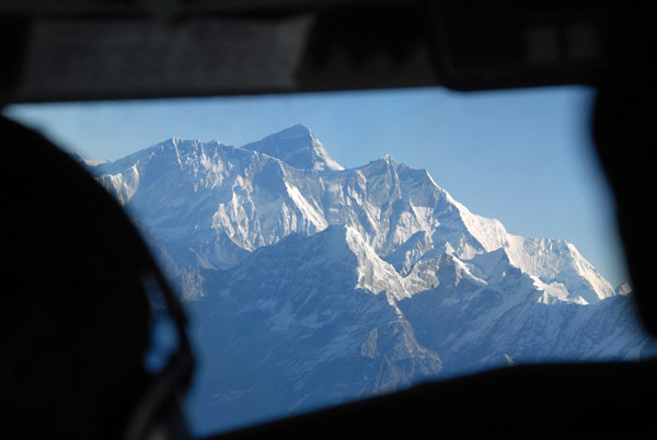 Mt Everest (8848m/29,028ft) - Worlds Tallest Mountain - out the cockpit of the Yeti Airlines J41 at 21,000 ft