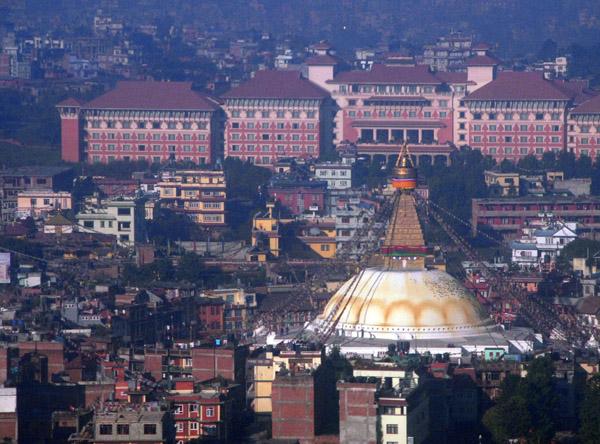 Bodhnath stupa and the Hyatt Regency Kathmandu
