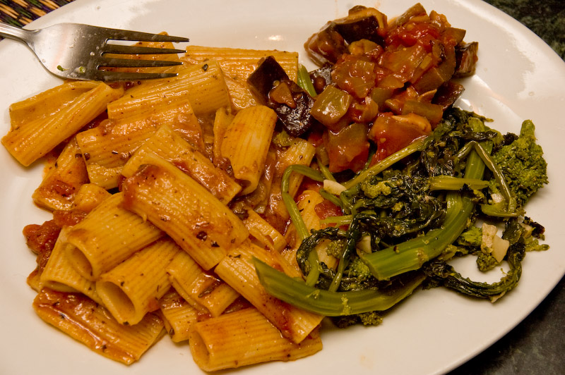 rigatoni, broccoli greens and vegetable tapenade