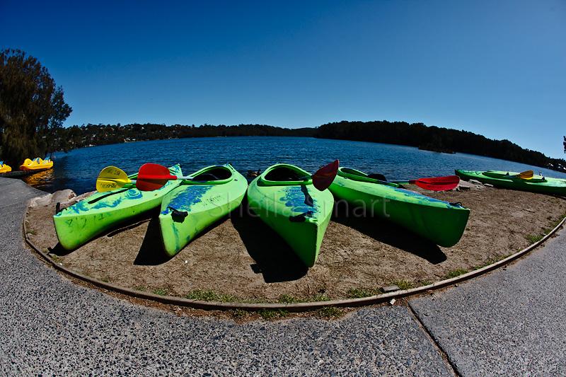 Kayaks at Narrabeen fisheye
