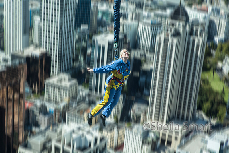 Bungey jumper off Sky Tower, Auckland