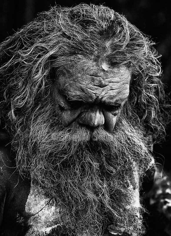 Australian aborigine with beard and facepaint
