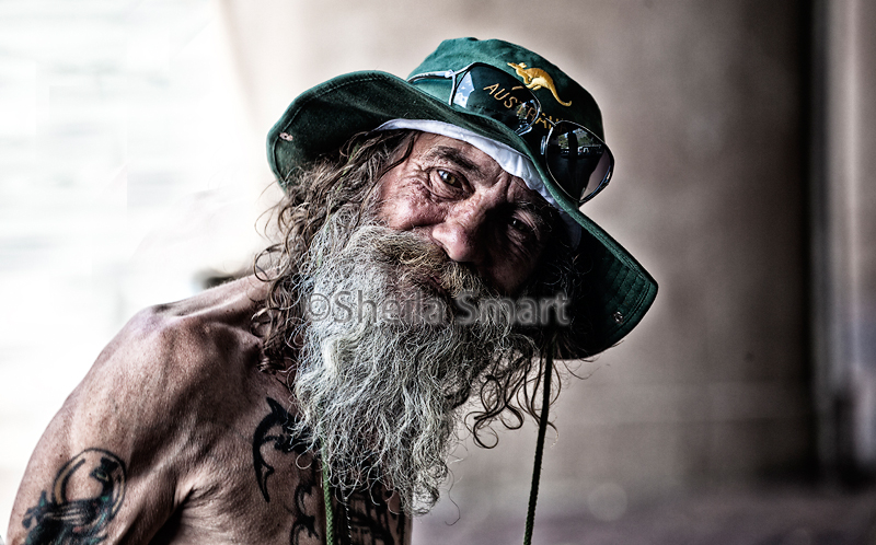 Homeless and friendly old chap at Quay